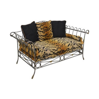 Directoire Style Steel & Brass Tiger Print Settee Love Seat by Pulaski For Sale