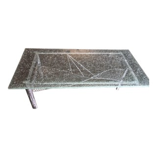 Contemporary Custom Shattered Glass Coffee Table For Sale