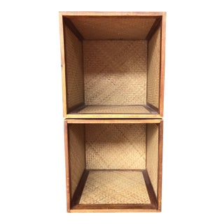 Pair Boho Chic Rattan Storage Boxes/End Tables For Sale