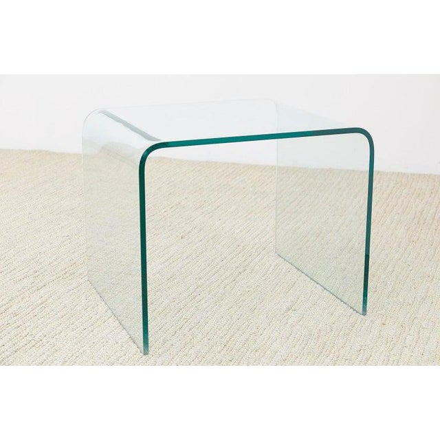Pair of Angelo Cortesi Glass Waterfall Nesting Drink Tables For Sale - Image 9 of 13
