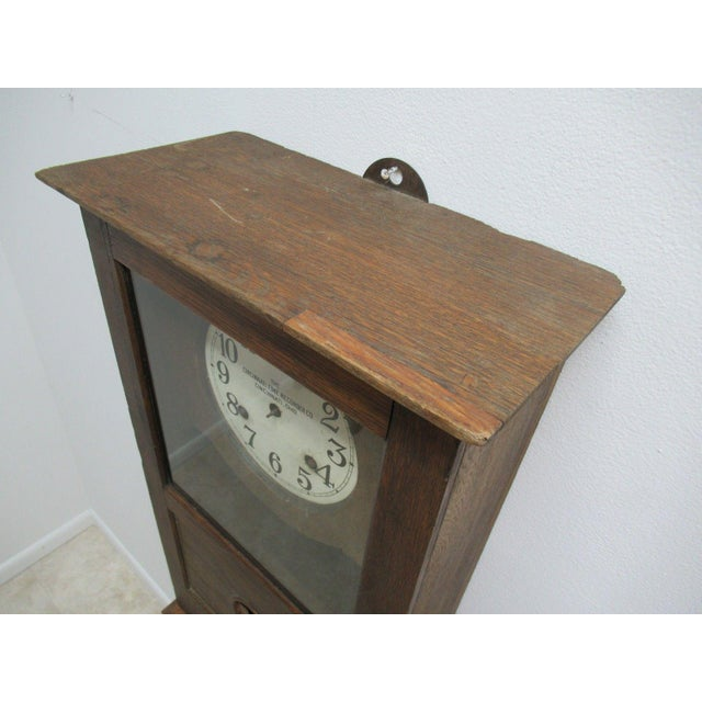 Antique American Classical Style Oak Time Recorder Clock For Sale In Philadelphia - Image 6 of 7