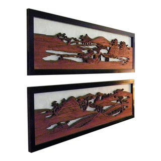 Vintage Mid Century Asian Large Hand Carved Wood Relief Wall Panels For Sale