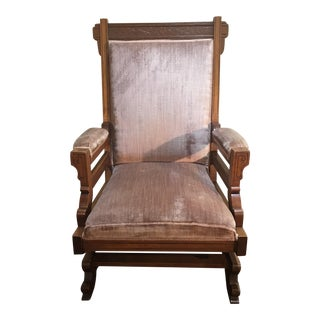 Early 20th Century Antique Pink Velvet Rocking Chair For Sale
