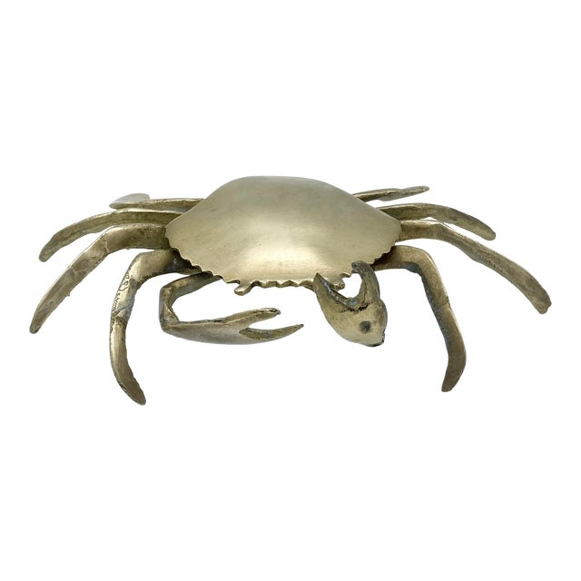 Mid-Century Brass Crab Ashtray With Hinged Lid For Sale