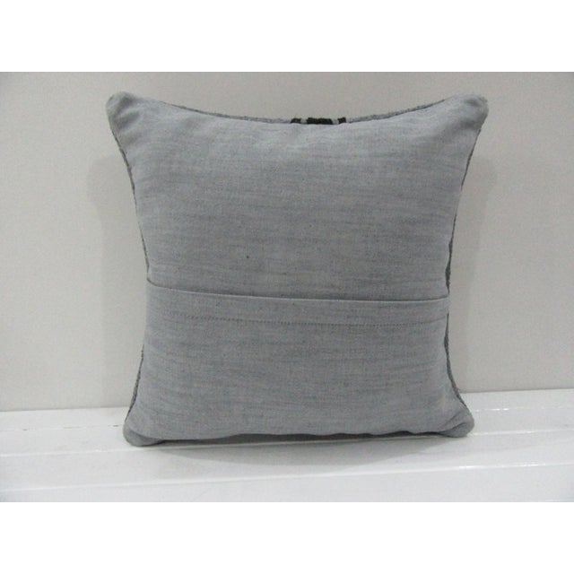 Contemporary Handmade Vintage Striped Gray Turkish Kilim Pillow Cover For Sale - Image 3 of 4