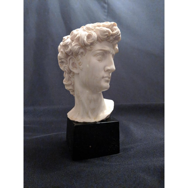 """A. Giannelli Alabaster Sculpture Bust of """"David"""" Marble Base For Sale - Image 4 of 7"""