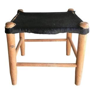 Vintage Wooden Cow Hide Stool Ottoman Black Hide Rustic Decor For Sale
