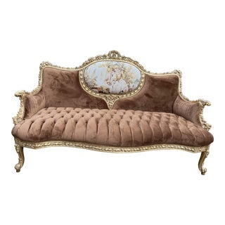 French Custom Louis XVI Tan Upholstered Style Sofa Settee For Sale