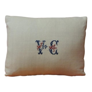 Antique Embroidery and Monogrammed v.c. Petite Lumbar Decorative Pillow For Sale