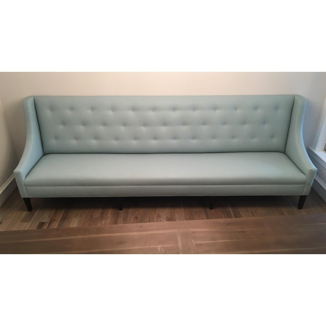 Brand new custom made soft faux leather banquette. Designer ordered in wrong color.