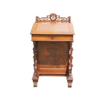 Victorian Walnut Davenport Captains Desk For Sale