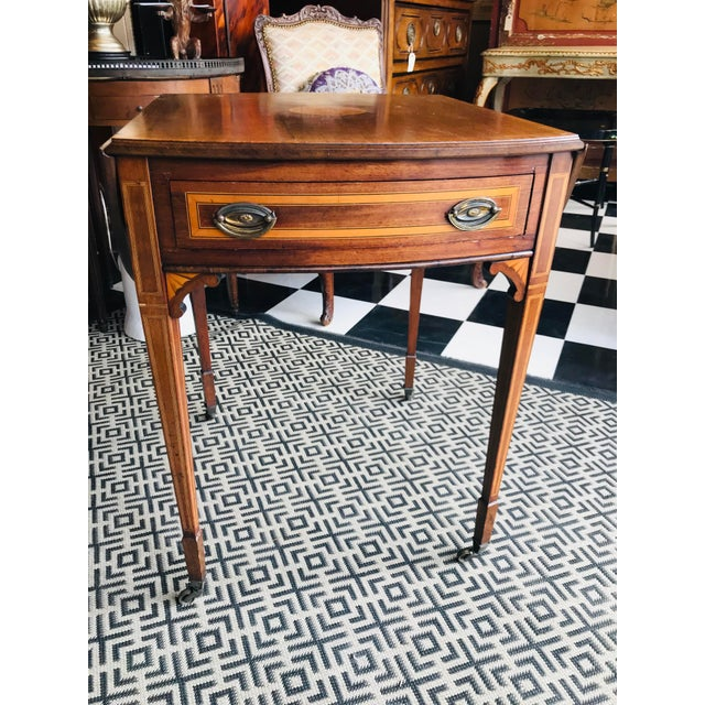 19th Century Traditional Mahogany Drop Leaf Oval Side Table For Sale - Image 11 of 11