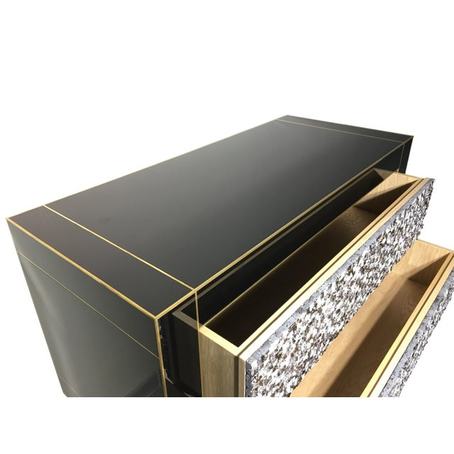 Handmade Mirrored Commode or Chest of Drawers, Volcanic Rock and Brass Inlay For Sale - Image 4 of 7