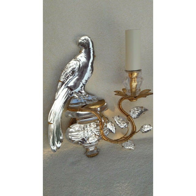 Gold French Art Deco Authentic Maison Bagues Crystal Opposing Face Parrot Sconces, a Pair For Sale - Image 8 of 11