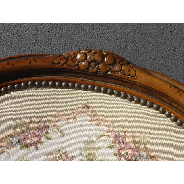 Vintage French Provincial Accent Arm Chairs - Pair - Image 7 of 11