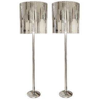 Pair of Stainless Steel Floor Lamps For Sale