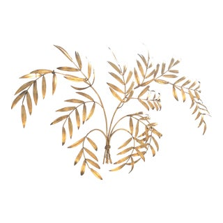 1960s Gold Leaf Branches Wall Sculpture Hanging For Sale