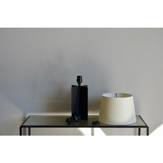 """Contemporary """"Croisillon"""" Matte Black Steel and Parchment Lamp For Sale In Los Angeles - Image 6 of 8"""