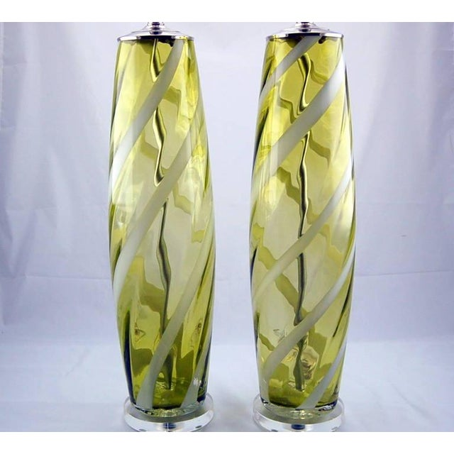 Contemporary Vintage Venetian Glass Table Lamps Yellow Green For Sale - Image 3 of 10