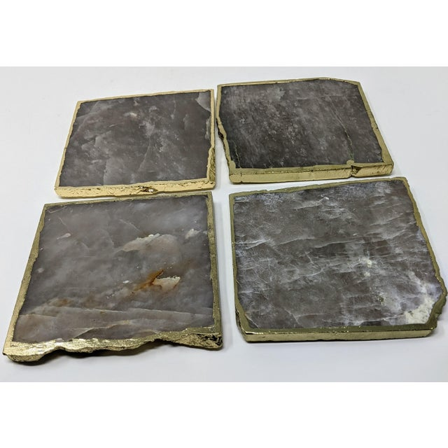Organic Modern Smoke Gray Agate Coasters With Gold Metal Edge - Set of Four (4) For Sale - Image 12 of 12