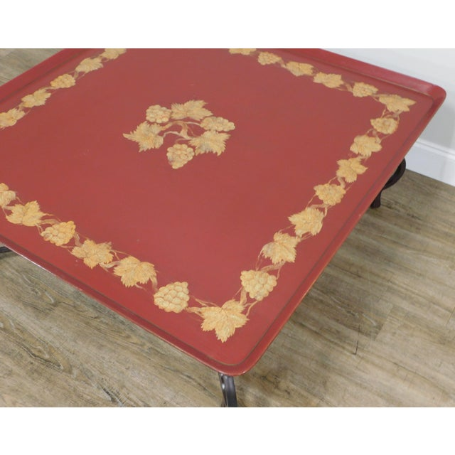 Metal Square Red & Gold Tray Coffee Table on Iron Scroll Legs and Frame For Sale - Image 7 of 12