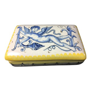 1930s Italian La Piccola Bottega Majolica Lidded Box For Sale