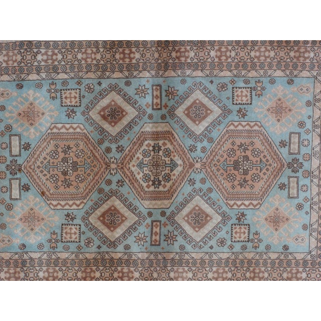 "Leon Banilivi Persian Blue Kashkuli Rug - 3'5"" x 5'4"" For Sale - Image 4 of 5"