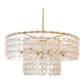 Contemporary Brass Finished Crystal Chain Chandelier For Sale