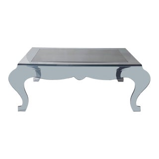 Smoked Grey Plexi and Black Glass Coffee Table For Sale