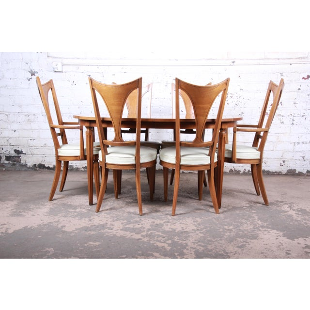 1960s Romweber Mid-Century Modern Cherry and Burl Wood Dining Set, 1960s - Set of 7 For Sale - Image 5 of 13