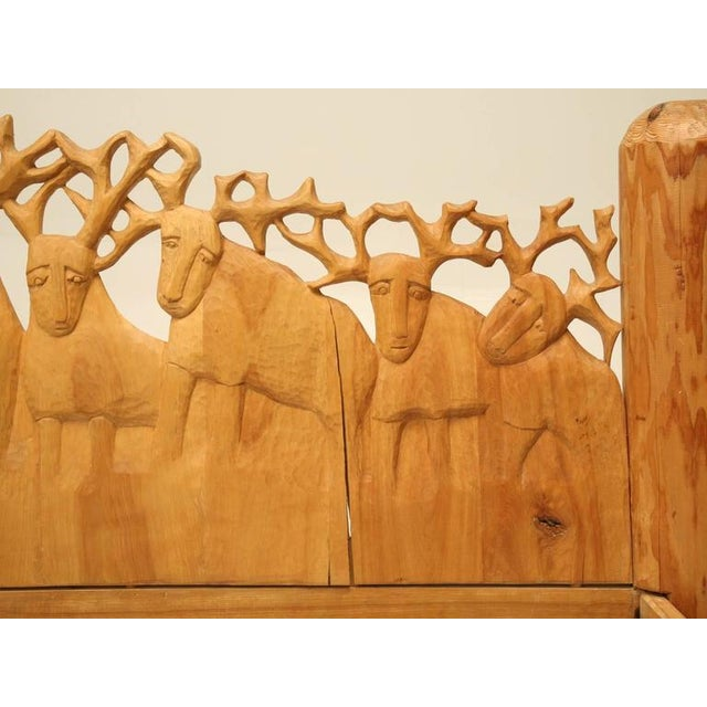 1980s Seven Stags Hand-Carved Bed by Jerzy Kenar For Sale - Image 5 of 10
