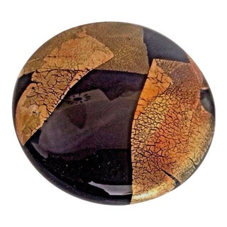 Randy Strong Art Glass Black & Gold Foil Paper Weight For Sale