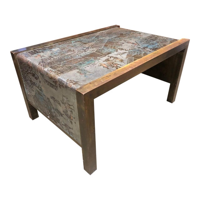 Philip and Kelvin LaVerne Etched Bronze Waterfall Side Table For Sale