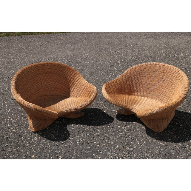 Late 20th Century Wicker Low Lounge Chairs - a Pair For Sale - Image 5 of 13