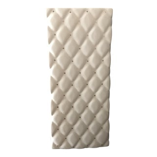 Contemporary White Quilted Pattern Square Porcelain Table Lamp For Sale