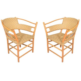 Pair of Bamboo Armchairs With Woven Leather Seats and Backs, Circa 1970s For Sale