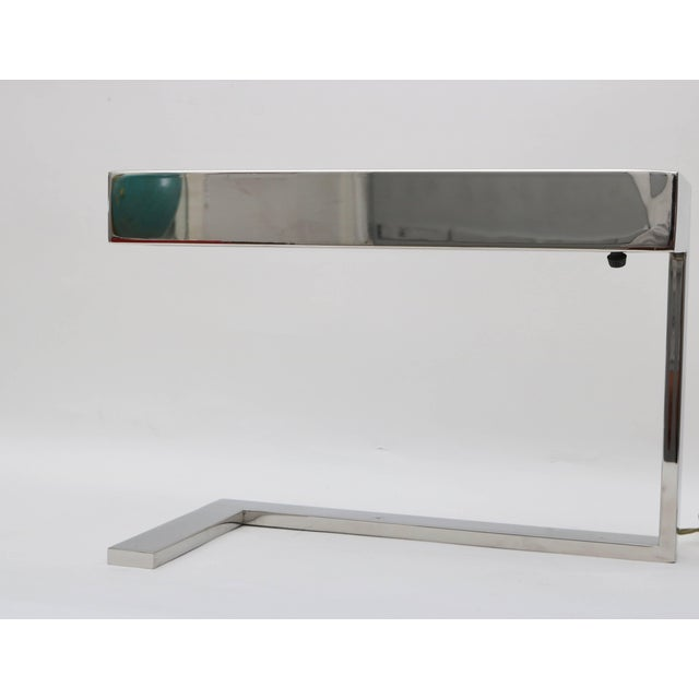 "Milo Baughman Milo Baughman Chrome ""Flat Bar"" Desk Lamp For Sale - Image 4 of 8"