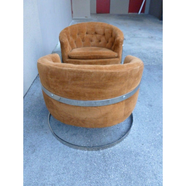 Milo Baughman 1970s Mid-Century Modern Milo Baughman Semi Circular Tub Lounge Chairs - a Pair For Sale - Image 4 of 8