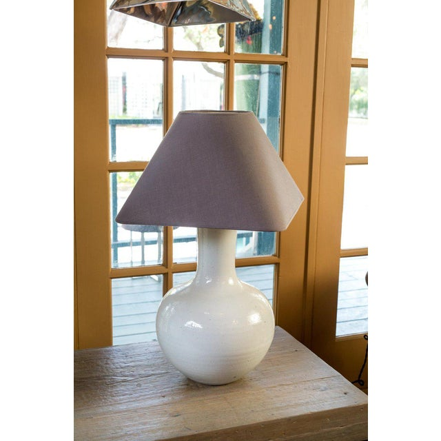Asian Two White Glazed Table Lamps For Sale - Image 3 of 6