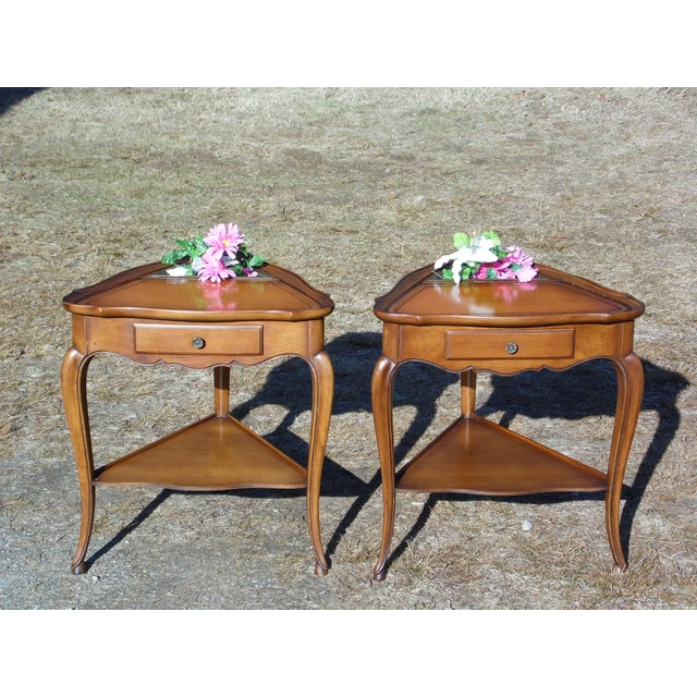 Vintage French Style Leather Top Triangle End Tables - A Pair For Sale - Image 11 of 12