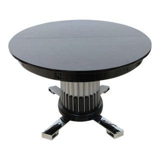 Black Lacquered, Chrome, and Silver Leaf Extension Dining Table by Paul Frankl For Sale