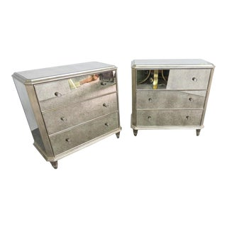 Ethan Allen Vivica Mirrored & Silver Gilt Chests - a Pair For Sale