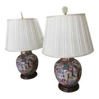 Traditional Imari Table Lamps - A Pair For Sale