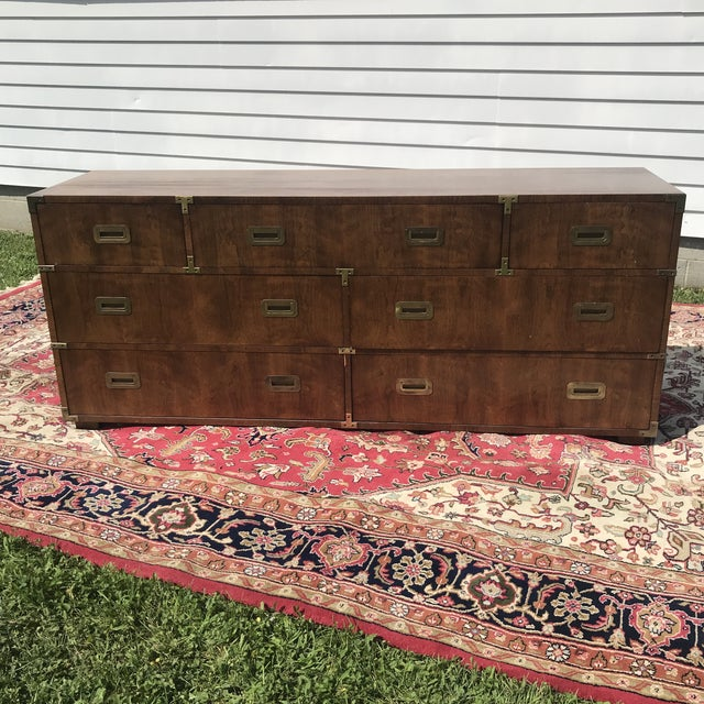 Vintage Henredon Campaign Triple Dresser 1970's Marked Henredon in the centre drawer. Top drawer is divided into 3...