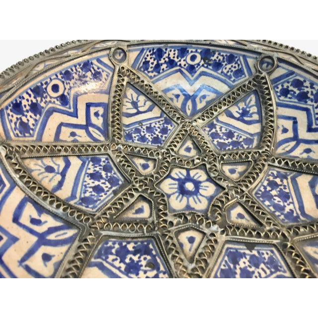 Decorative Moroccan Blue and White Handcrafted Ceramic Bowl From Fez For Sale - Image 9 of 12
