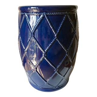 "Blue Ceramic Garden Seat-Trellis Design-20"" For Sale"