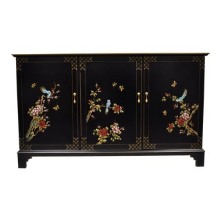 20th Century Asian Hand Painted Black Lacquer Credenza For Sale