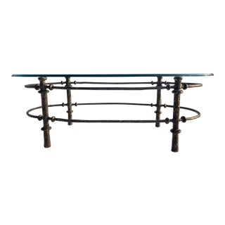Mid-Century Modern Sculptural Wrought Iron Base Glass Top Coffee Table Giacometti For Sale
