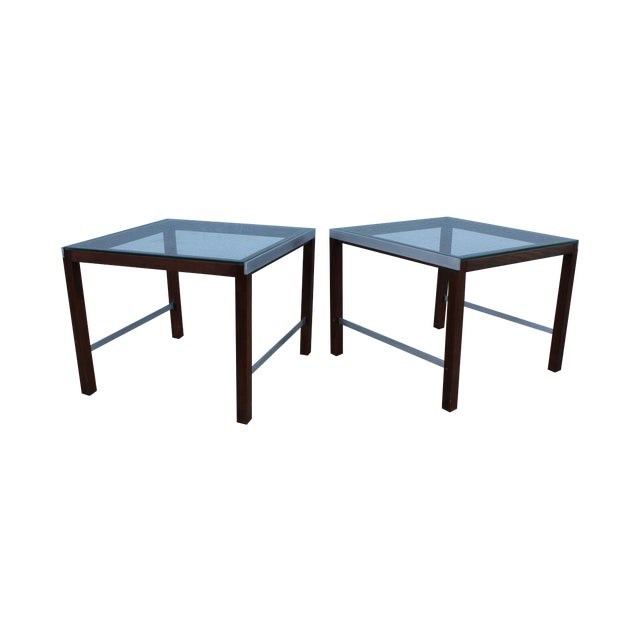 1970's Modern Chrome and Walnut Side Table For Sale