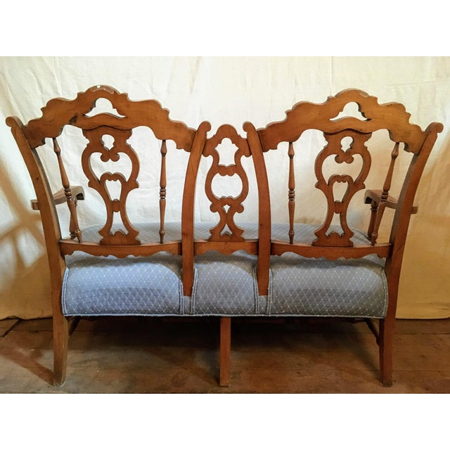 Lovely French country settee with pale blue and yellow upholstery. This settee is in used condition but there are no...